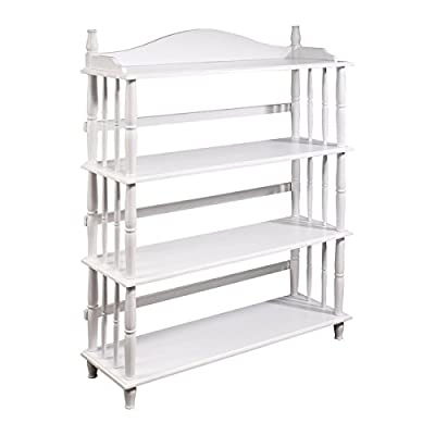 Altra Daysha 4 Shelf Spindle Leg Bookcase, White - Altra Daysha 4 Shelf Spindle Leg Bookcase is an elegant way to showcase your items in any room The solid wood spindles and feet make this Bookcase sturdy, yet beautiful Four open shelves offer plenty of room for storing books or displaying family photos - living-room-furniture, living-room, bookcases-bookshelves - 41DiDHlu qL. SS400  -