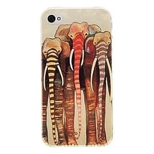 TY- Modelo tribal Elefante Fashioned PC caso duro para el iPhone 4/4S