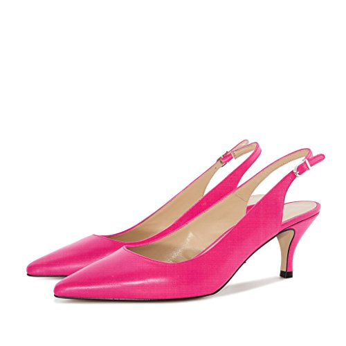 Soireelady Women's Kitten Heel Court Shoes Closed Pointy Toe Slingback Pumps Rose GN95Vcmgx