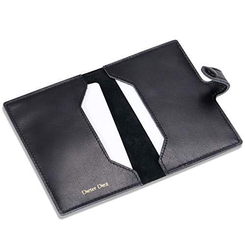 HISCOW Minimalist Thin Bifold Card Holder - Italian Calfskin (Dieter Diez, Black)