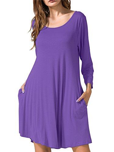 JollieLovin Women's Casual Swing 3/4 Sleeve Pockets T-Shirt Loose Dress (Deep Purple, S)