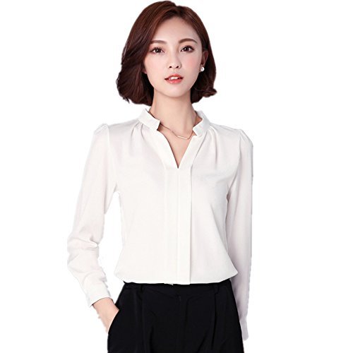Womens White Blouse - FANYANG Women's Long Sleeve Casual Shirt V Neck Chiffon Blouse Tops