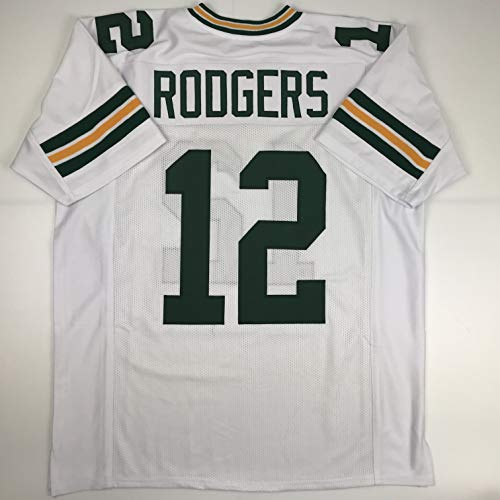 (Unsigned Aaron Rodgers Green Bay White Custom Stitched Football Jersey Size XL New No)