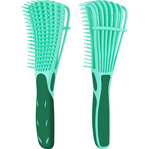 2 Pack Detangling Brush for Curly Hair, ez detangler brush Hair Detangler, Afro Textured 3a to 4c Kinky Wavy for Wet/Dry/Long Thick Curly Hair, Exfoliating for Beautiful and Shiny Curls (Green)