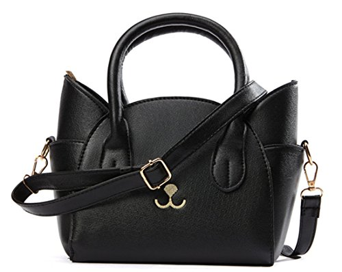 JHVYF Women's Fashion Top Handle Cute Cat Cross Body Shoulder Bags Girls Black Handbag Purse