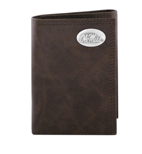 NCAA Mississippi Old Miss Rebels Zep-Pro  Wrinkle Leather Trifold Concho Wallet, Brown