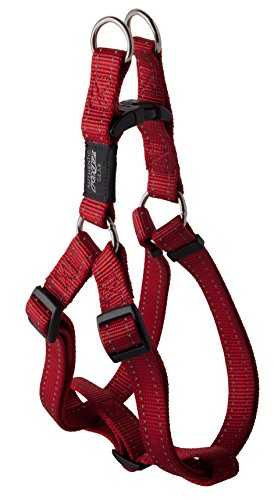 Reflective Adjustable Dog Step in Harness for Large Dogs; matching collar and leash available, Red