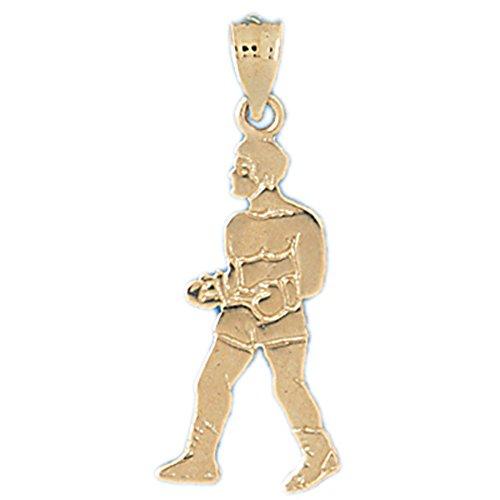 14K Yellow Gold Boxer Pendant Necklace - 32 (14k Yellow Gold Boxer)
