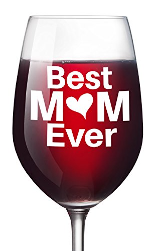 Best Mom Ever Wine Glass - Christmas Gift for Moms Mother's Day - 16 Oz Unique Birthday Gift For Women Present Idea For New Mother Wife Girlfriend Sister From Son Daughter (Best Mom Ever With Heart)