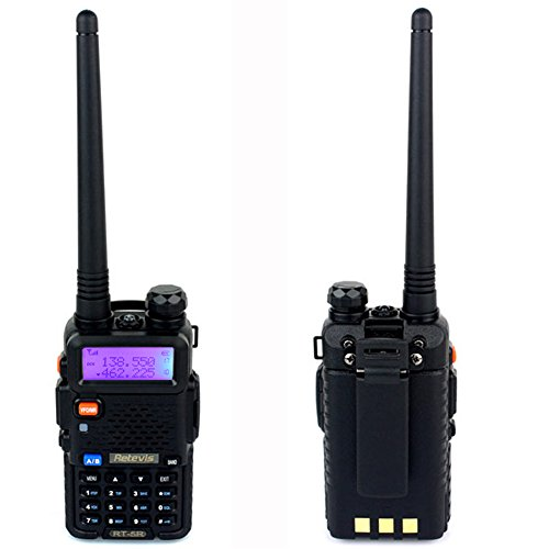 Retevis RT-5R 2 Way Radio 5W 128CH Dual Band UHF/VHF 400-520MHz/136-174MHZ FM Walkie Talkies (6 Pack) and Programming Cable by Retevis (Image #2)
