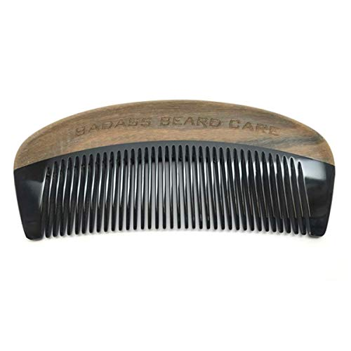 Badass Beard Care Black Series - Fine Tooth Ox Horn Comb For Men - 100% Ox Horn & Sandalwood, Hand Made, Sanded and Polished (Ox Horn Beard Comb)