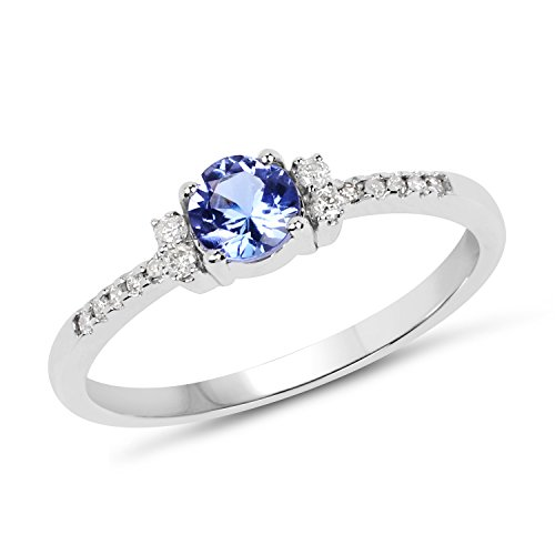 0.51 Carats Genuine Tanzanite and White Diamond (I-J,I2-I3) Ring Solid 10KT White Gold