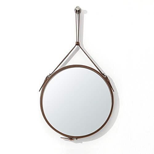 Ranslen Round Hanging Wall Mirror Decorative 15 Inch Rustic Wall Mirror with Hanging Strap for Bathroom Bedroom Living Room Home Decor Brown