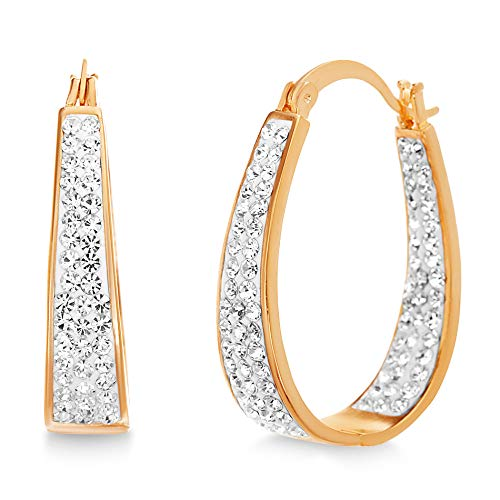 Devin Rose Oval Inside Outside Hoop Earrings for Women made With Swarovski Crystals in Rose Gold Plated Brass (Pink)