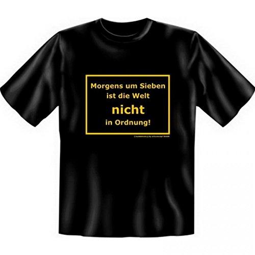 T-Shirt Morgenmuffel - Morgens um sieben ist die Welt NICHT in Ordnung - Funshirt Set inkl. Minishirt als Geschenk Idee