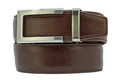 Mens Camden Brown Reptile Leather Belt with High Strength Nylon Backing - Nexbelt Ratchet System Technology Mens Dress Belts