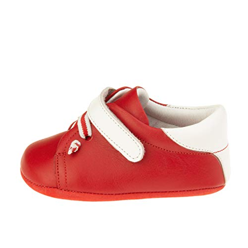 Ella Bonna Baby Sneakers | Cowhide Full Grain Leather | Soft Insole and Sole | Designer Handmade Shoes | White Velcro Snap | for Baby Boys Girls Toddlers (US 5.5 M, Red) ()
