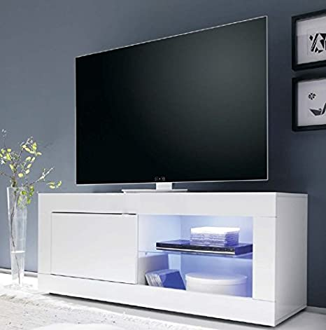 Porta Tv Bianco Lucido.Mobiletto Portatv Moderno In Legno Laccato Bianco Lucido