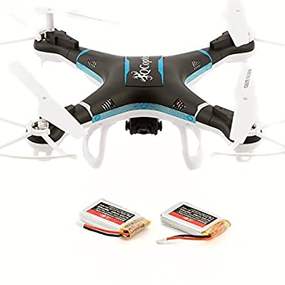 Qcopter Black Drone Quadcopter Experience Longer Flights of 30 Minutes With BONUS Battery