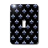 3dRose Lsp_22347_1 Blue Fleur De Lis On A Black Background Christian Symbol Single Toggle Switch