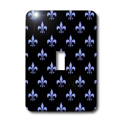 3dRose Lsp_22347_1 Blue Fleur De Lis On A Black Background Christian Symbol Single Toggle Switch by 3dRose