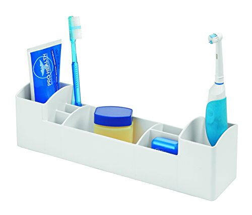 InterDesign Med+ Bathroom Medicine Cabinet Organizer, for Electric Toothbrush, Toothpaste, Vitamins, Thermometer - White