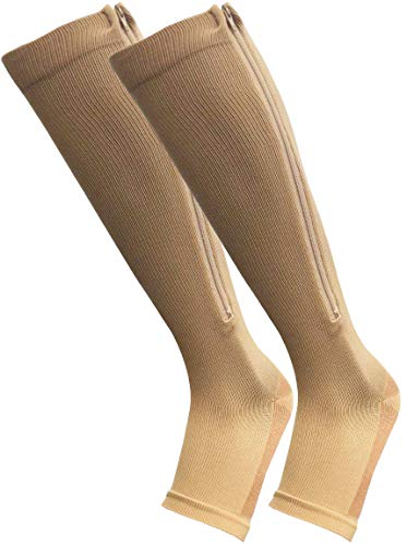 FITDIO Knee High 15-20mmHG Open-Toe Zippered Copper Compression Support Hose Stockings (L/XL)