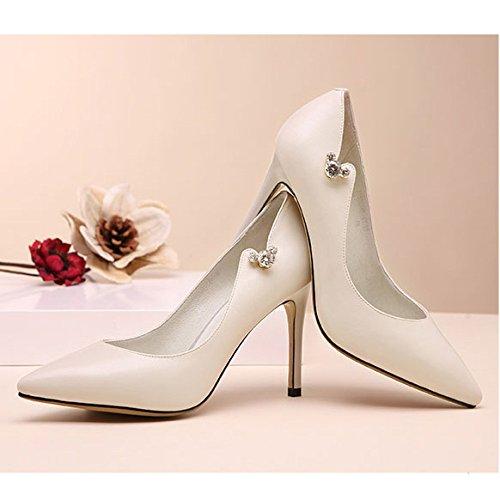 9cm Noir Cuir OffWhite Mariage De en Chaussures Party Sexy Mode Haute Travail De Diamants Cuir Cour Chaussures Chaussures Night 36 Femme EU Club 4 en Talons UK dw1BdT