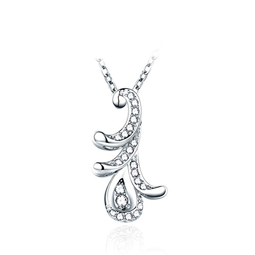 Embellishment 925 Silver Plated Platinum Necklace/Ladies Short Peacock Feather Collar Bone Chain/Japanese And Korean Jewelry-A
