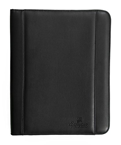 Professional Business Padfolio Portfolio Briefcase Style Organizer Folder With Handles Notepad and 4 Ring Binder - Black Synthetic Leather (Cd Padfolio)