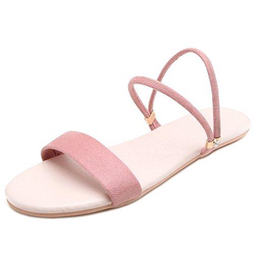 Pink Simple Femmes Sandales Plates TAOFFEN RqnpIUcCc