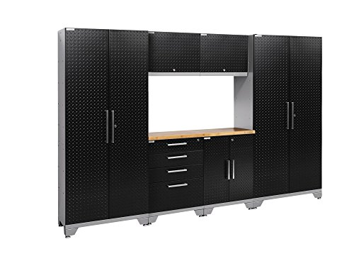 NewAge Products 55556 Performance 2.0 7Piece Cabinetry Set with Bamboo Worktop - Diamond Plate Black