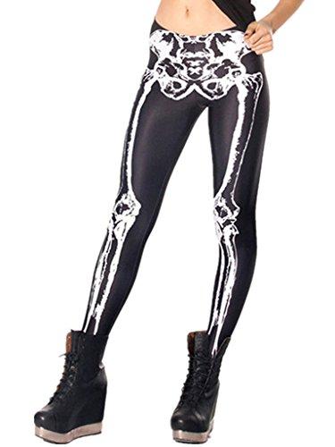 Persun Women Skeleton Print Leggings