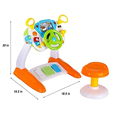 Child Bus Driving Simulator Cab Ride On Toy with Steering Wheel for Toddler Boys Turn and Learn Riding Toy Car: Toys & Games