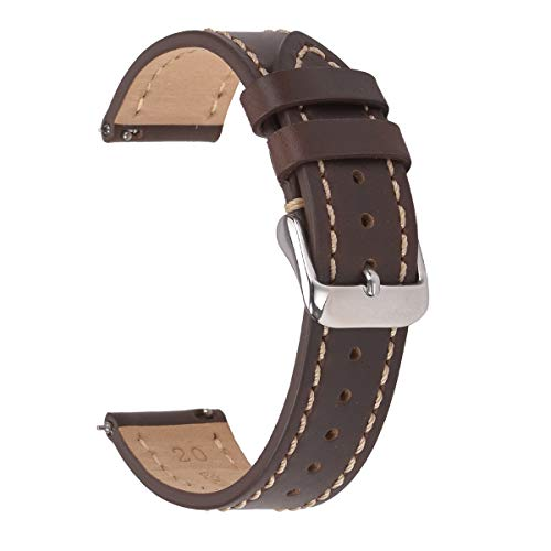 22mm Quick Release Watch Bands,EACHE Genuine Leather Watch Straps for Men & Women Horween Brown