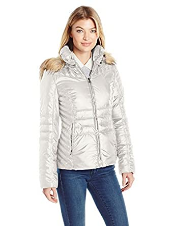 0372d1c3f2f Amazon.com: GUESS Women's Polyfill Puffer Coat with Faux Fur Trim Hood:  Clothing