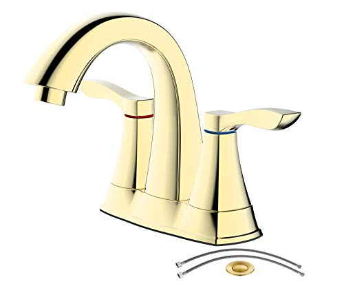 TimeArrow TAF3500-PB01 Two Handle Centerset Bathroom Sink Faucet With Drain Assembly and Water Supply Hose, Polished Brass