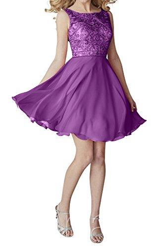 Kleider Mini Jugendweihe Violett Partykleider Cocktailkleider Abendkleider Ballkleider mia Chiffon La Promkleider Kurzes Brau Az8x6