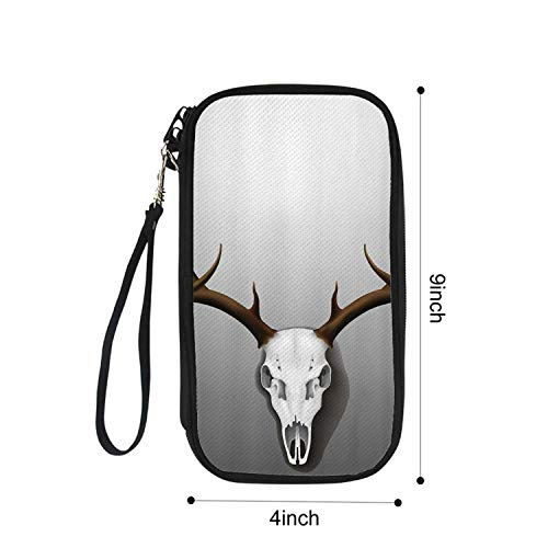 Antler Decor Portable Passport package,Realistic Deer Skull with Large Horns Elk Skeleton on Abstract Backdrop Decorative for Airport,9
