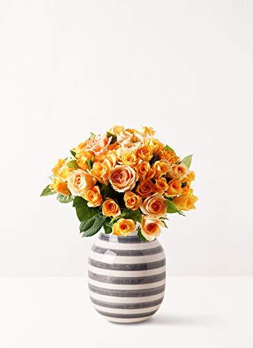 HitoHana(ひとはな) バラ グラスブーケ オレンジ L (50本入) Omaggio (オマジオ) ベース M グラナイト グレー付き B07KC5K3HJ