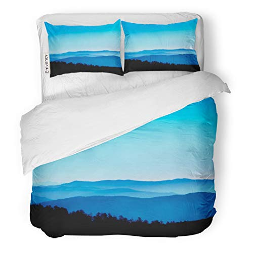 Semtomn Decor Duvet Cover Set King Size Blue View from Clingmans Dome Great Smoky Mountains National Park 3 Piece Brushed Microfiber Fabric Print Bedding Set -