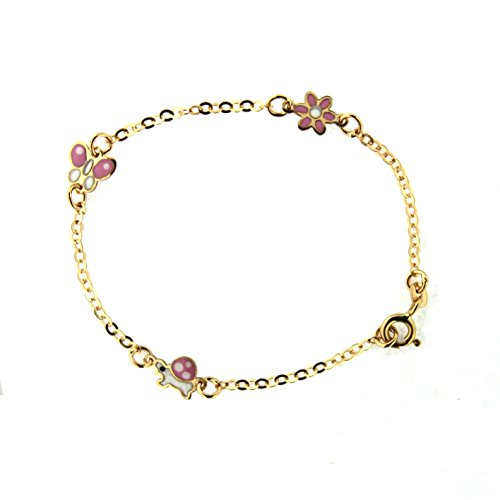 18K Yellow Gold Pink and white enamel Flower ,Butterfly and Turtle bracelet 6 inches by Amalia