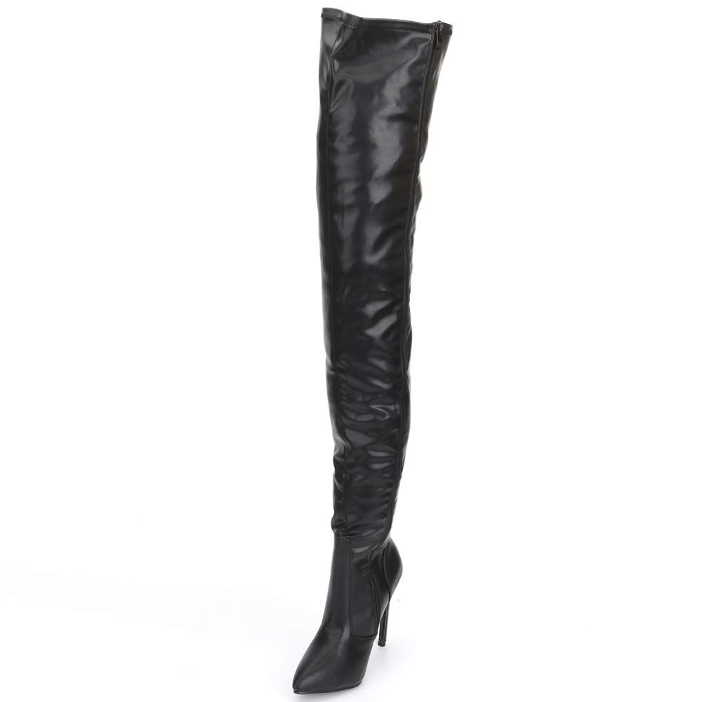 JiaLuoWei Over The Knee Boots for Women High Heels Plus Size Unisex Boots 12cm High Heel