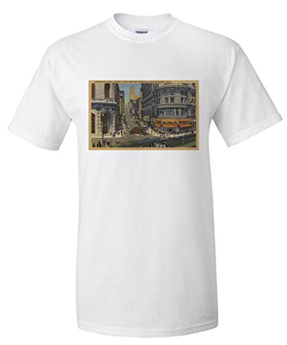 Cable Cars on Market and Powell Street San Francisco (White T-Shirt - Francisco Street Powell San One