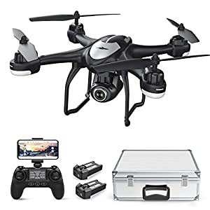 Potensic T18 GPS Camera Drone, FPV RC Quadcotper with 1080P HD Camera Live Video, GPS Auto Return Home, Altitude Hold, Follow Me, 2 Batteries and Aluminum Carrying Case