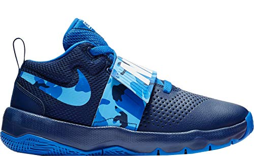 Nike Kids Grade School Team Hustle D 8 Camo Basketball Shoes (4, Blue/Light Blue)