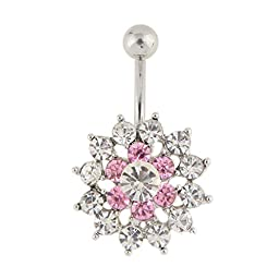 MyMei Sexy and Luxury Zircon Crystal Body Piercing Surgical Navel Button Belly Ring with Gem Pink