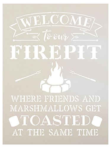Welcome to Our Firepit Stencil by StudioR12 | Rustic and Fun - Reusable Mylar Template | Painting, Chalk, Mixed Media | Crafting, DIY Home Decor (9'' x 12'') by Studio R 12