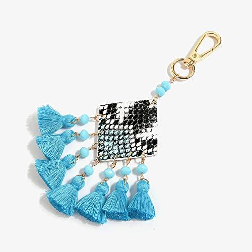 (Jzcky Shzrp Handmade Colorful Tassel Keychain Keyring Purse Charm Handbag Pendant Holiday Gift(Blue))