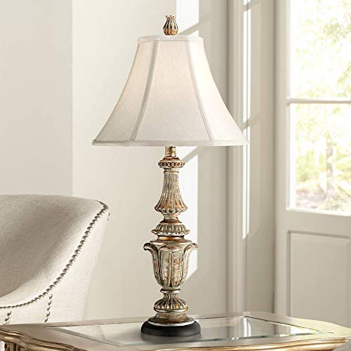 - Traditional Table Lamp Gold Wash Candlestick Off White Bell Shade for Living Room Family Bedroom Bedside Nightstand - Regency Hill
